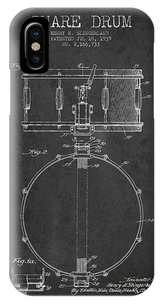 Drum iPhone Case - Snare Drum Patent Drawing From 1939 - Dark by Aged Pixel