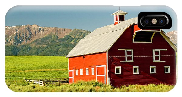 Wheeler Farm iPhone Case - Wallowa Mountains And White Barn by Nik Wheeler