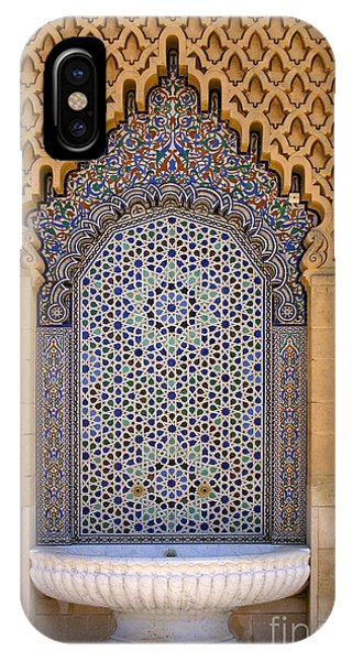 Water Fountain Mausoleum Of Mohammed V Opposite Hassan Tower Rabat Morocco  IPhone Case