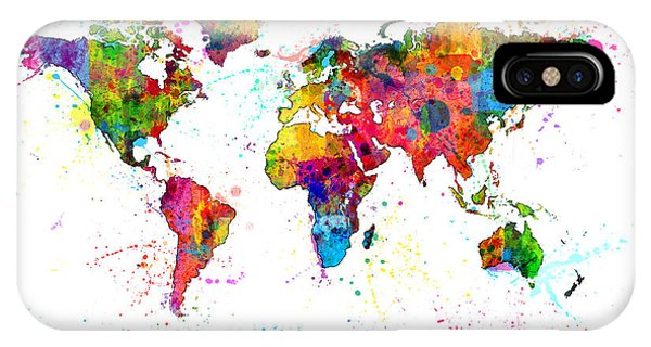 Planets iPhone Case - Watercolor Political Map Of The World by Michael Tompsett