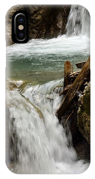 Waterfall In Wolfs Gorge In Alps IPhone Case
