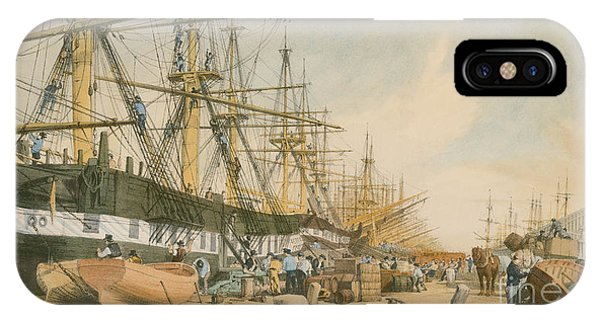 West Bay iPhone Case - West India Docks From The South East by William Parrot