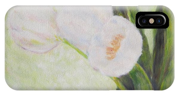 White Tulips On Stems With Foliage IPhone Case