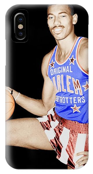 Harlem iPhone Case - Wilt Chamberlain As A Member Of The Harlem Globetrotters  by Mountain Dreams