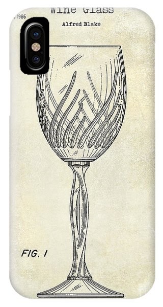Wine Glass Patent Drawing IPhone Case
