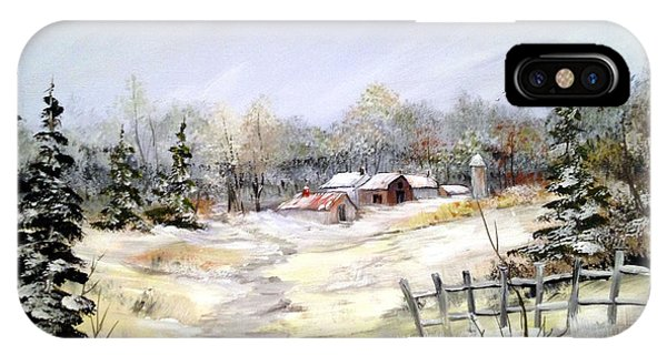 Winter At The Farm IPhone Case