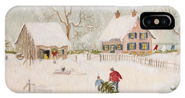 Winter Scene Of A Farm With People/ Digitally Altered IPhone Case