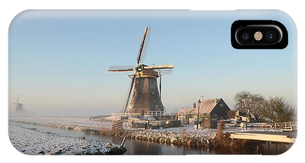 Winter Windmill Landscape In Holland IPhone Case