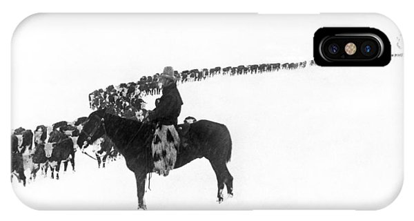 Cow iPhone X / XS Case - Wintertime Cattle Drive by Charles Belden