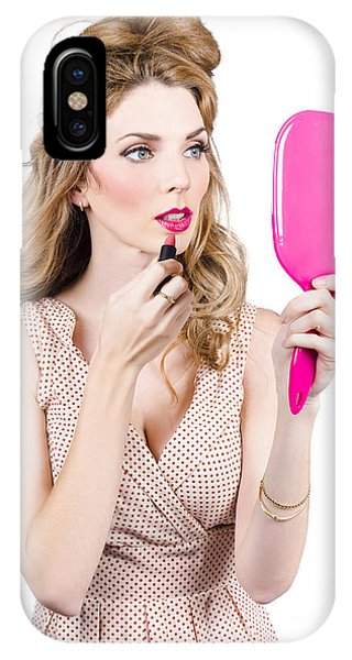 Woman Applying Lip Makeup With Cosmetics Mirror IPhone Case
