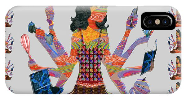 Modern Woman Female Spiritual Inspiration Multitasking Leadership Goddess Background Designs   IPhone Case