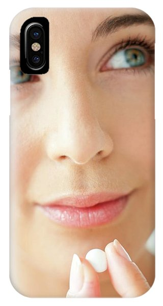 Woman Holding A Tablet Phone Case by Ian Hooton