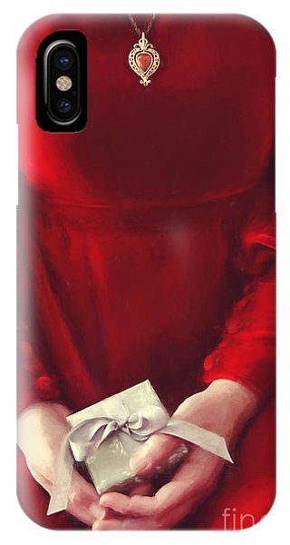 Woman In Red Dress Holding Gift/ Digital Painting IPhone Case