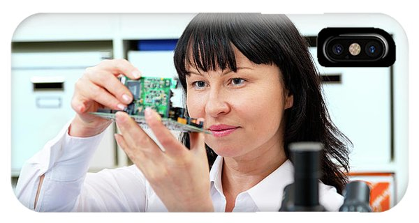 Woman Making A Micro Processor IPhone Case