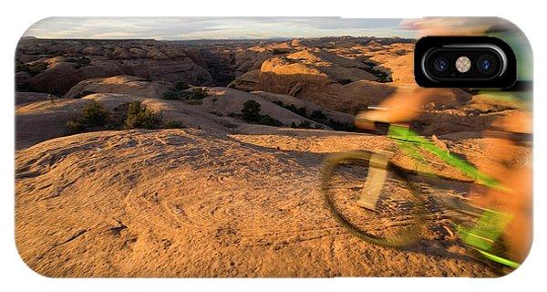 Slickrock iPhone Case - Woman Mountain Biking, Moab, Utah by Whit Richardson