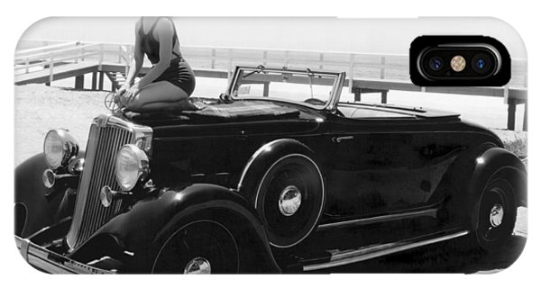 Sunbather iPhone Case - Woman On A Hupmobile by Underwood Archives