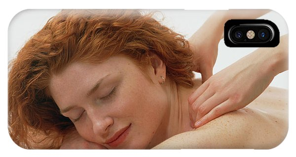Well Being iPhone Case - Woman Receives A Neck And Shoulder Massage by Damien Lovegrove/science Photo Library