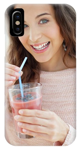 Smoothie iPhone Case - Woman With Smoothie by Ian Hooton