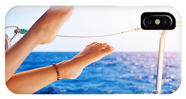 Women's Feet On The Yacht IPhone Case