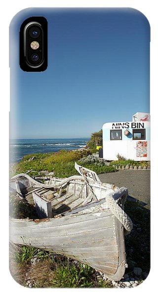 Caravan iPhone Case - Wooden Dinghy, And Nins Bin Lobster by David Wall