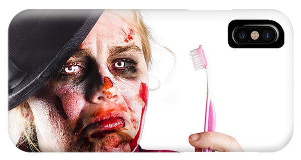 Ghastly iPhone Case - Zombie Woman With Toothbrush by Jorgo Photography - Wall Art Gallery