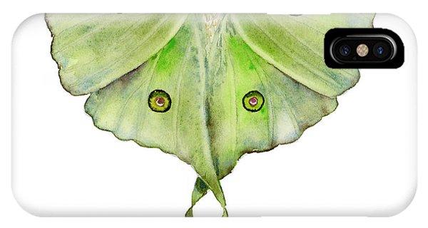 Moth iPhone Case - 100 Luna Moth by Amy Kirkpatrick