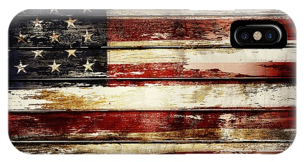 Fence iPhone Case - American Flag 33 by Les Cunliffe