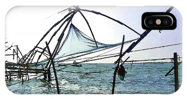Fishing Nets On The Sea Coast In Alleppey IPhone Case