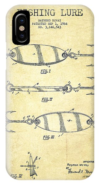 Fishing iPhone Case - Vintage Fishing Lure Patent Drawing From 1964 by Aged Pixel