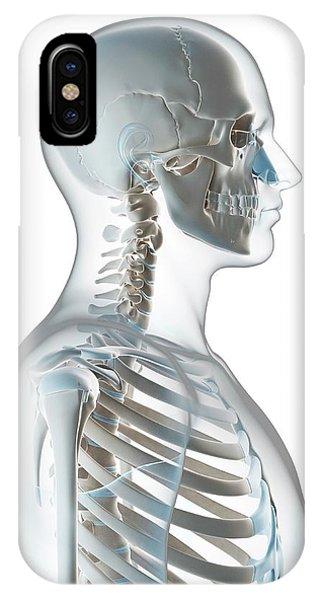 Human Skull And Neck Phone Case by Sebastian Kaulitzki