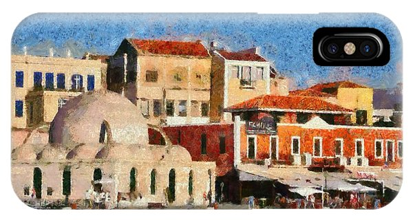 Painting Of The Old Port Of Chania IPhone Case
