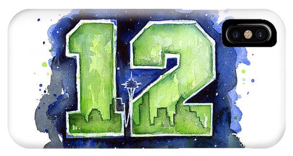 Watercolor iPhone Case - 12th Man Seahawks Art Seattle Go Hawks by Olga Shvartsur