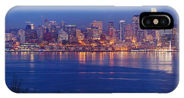Downtown Seattle iPhone Case - 12th Man Seattle Skyline Reflection by Mike Reid