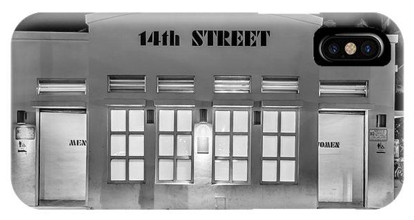 Toilet iPhone Case - 14th Street Art Deco Toilet Block Sobe Miami - Black And White by Ian Monk