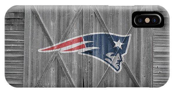 New England Barn iPhone Case - New England Patriots by Joe Hamilton