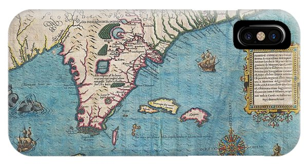 1591 De Bry And Le Moyne Map Of Florida And Cuba IPhone Case