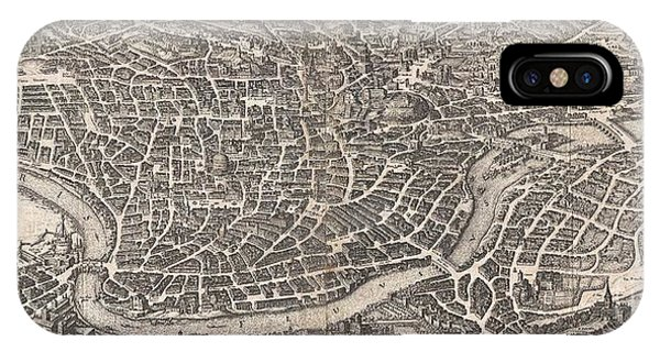 iPhone Case - 1652 Merian Panoramic View Or Map Of Rome Italy by Paul Fearn