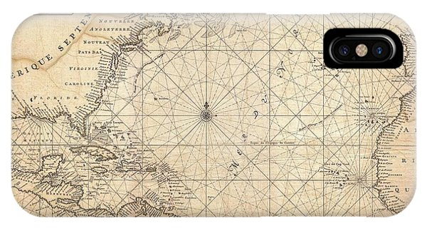 1683 Mortier Map Of North America The West Indies And The Atlantic Ocean  IPhone Case