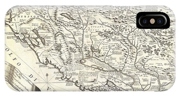 iPhone Case - 1690 Coronelli Map Of Montenegro by Paul Fearn