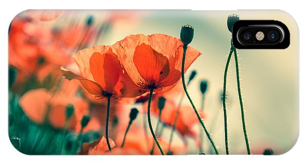 Garden iPhone X Case - Poppy Meadow by Nailia Schwarz