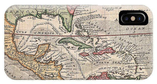 iPhone Case - 1732 Herman Moll Map Of The West Indies And Caribbean by Paul Fearn