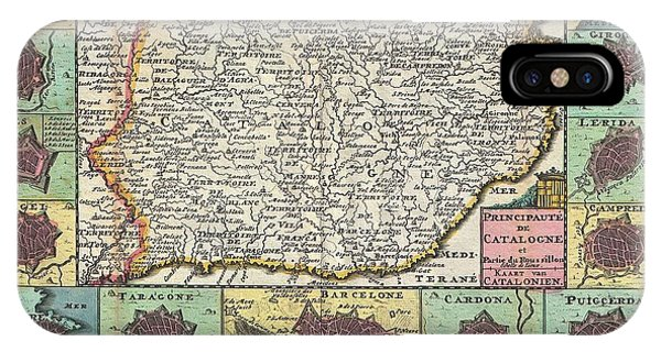 1747 La Feuille Map Of Catalonia Spain IPhone Case