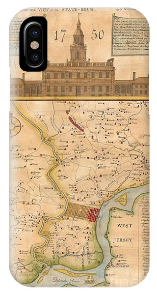 1752  Scull  Heap Map Of Philadelphia And Environs IPhone Case