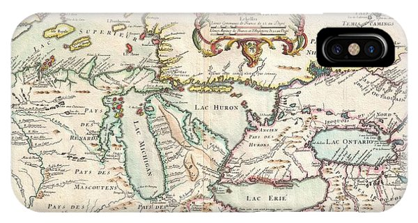 iPhone Case - 1755 Bellin Map Of The Great Lakes by Paul Fearn