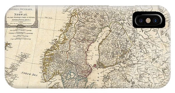 iPhone Case - 1794 Laurie And Whittle Map Of Norway Sweden Denmark And Finland by Paul Fearn