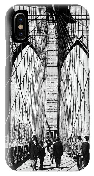 1880s iPhone Case - 1800s 1880s Men Standing On Brooklyn by Vintage Images