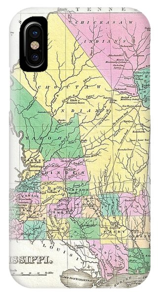 iPhone Case - 1827 Finley Map Of Mississippi by Paul Fearn