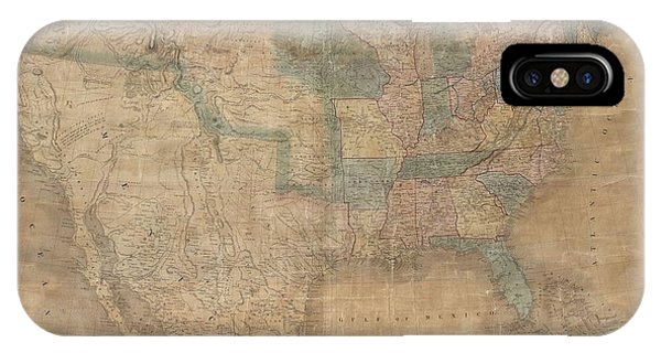 1839 Burr Wall Map Of The United States  IPhone Case