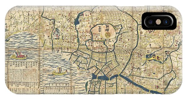 iPhone Case - 1849 Japanese Map Of Edo Or Tokyo by Paul Fearn
