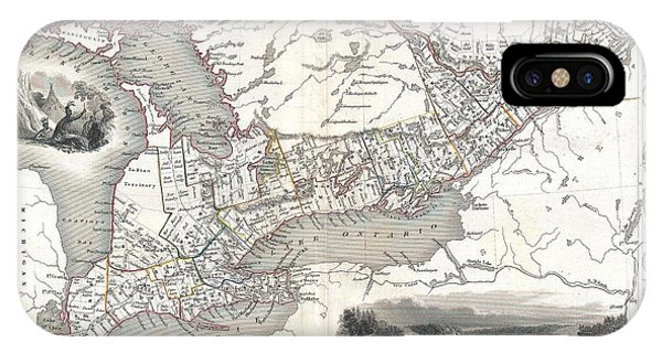 Paper chase iphone cases fine art america paper chase iphone case 1850 tallis map of west canada or ontario by paul fearn gumiabroncs Image collections
